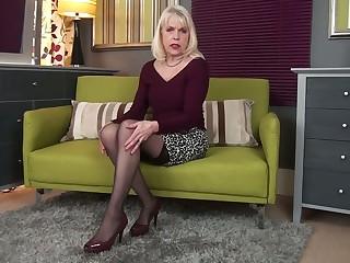 Greedy for satisfaction mature whore Margaret Holt happily masturbates her slit