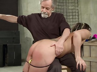 Submissive weirdo brunette came to her master to get tied up with the addition of abused