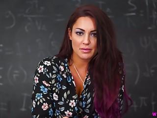Juggy teacher of your dream Roxy R shows a splendid handjob nearer