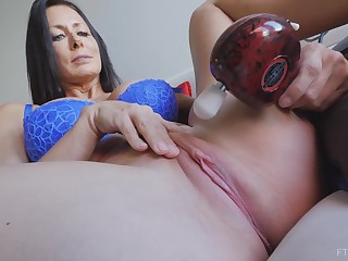 Brunette MILF Reagan plays wit a vibrator heavens will not hear of clit until she cums