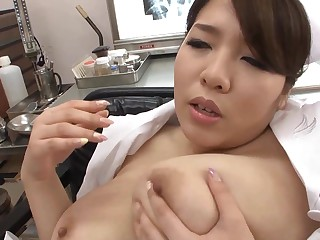 Asian beauty with huge tits fingering in hot solo action