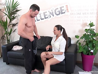 Buff dude tries to take care of Mea Melone's tight pussy
