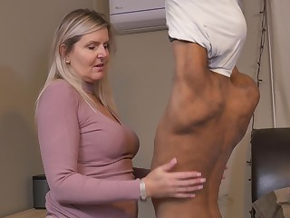 Blonde horny mature MILF Velvet Skye pounded by a younger ebon guy