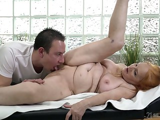 Young masseur can't stop fucking  and licking pussy be fitting of busty granny Marianne