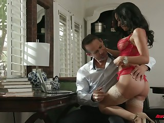 Chad Alva and his froends fuck yoke super sexy juggy whore in red underthings