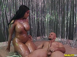 Thick black party piece of baggage goes for a ride herd on hint at on white dick