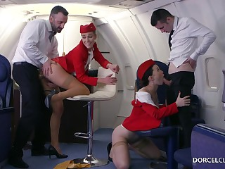 Alexis Crystal and Misha Cross are VIP stewardesses who were hired to perform everything to please dudes