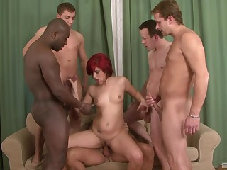 Sexy Lucy Belle adores interracial gangbang give handsome admass