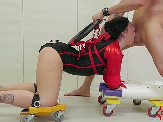 Submissive whore in corset gets tied adjacent to and brutally analfucked doggy