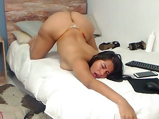 latina stepsister shagging her boundary dildo gaping void inside