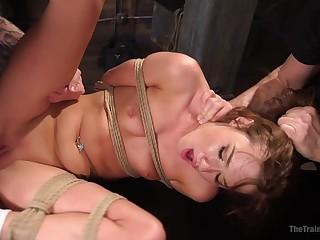 Submissive Alaina Dawson enjoys sex merriment while she hangs doomed