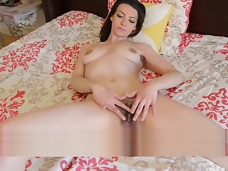 Brunette babe Geneva showing off along to pussy hair