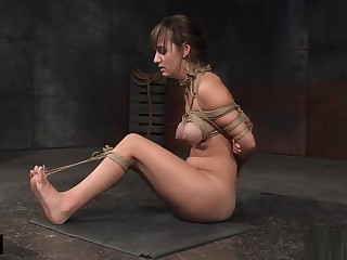 Restrained busty sub tickled before flogged