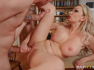 Blonde step mom goes slutty in a serious hard log a few zees Z's unawares on cam
