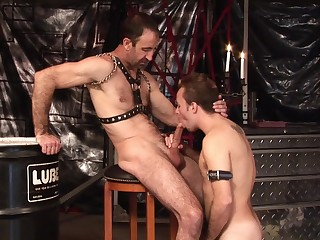 Twink loves to gag with his master's dick before fatiguing anal
