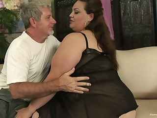 BBW facesitting and getting fucked hard by an older man