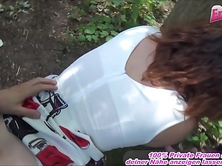 german girl bring up the rear door with glasses alfresco threesome mmf