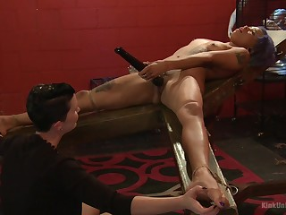 Mistress shows younger slave girl proper oral stimulation