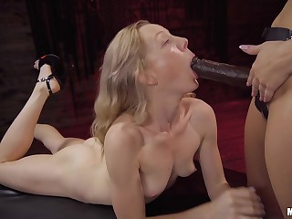 Gagged blonde continues to play submissive for her lesbian mistress