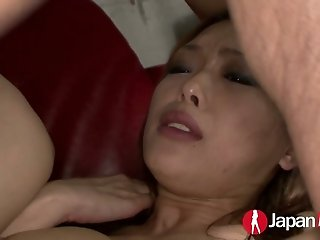 Lecherous japanese whore Rian is banged by 2 nasty customers