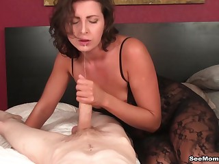Pale guy with a whacking big cock enjoys while his become man Helena gives a blowjob