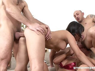 Bitches are being hard fucked in all directions a wild foursome