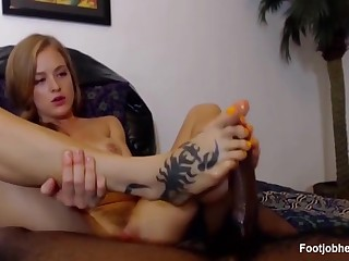 Tattooed Hottie Gives A Footjob To Lucky Bbc - Prexy Ir Housewife