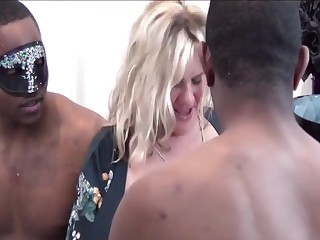 American, Big tits, Blonde, Blowjob, Deepthroat, Foursome, Group, Interracial, Milf