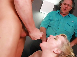 Old man fucks fat woman after she throats nephew's cock