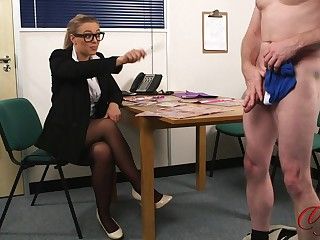 Naughty blonde pornstar Beth Bennett watches a dude play with his dick