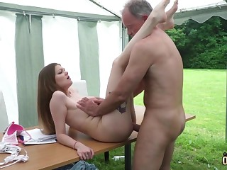 Youthfull nubile entices and tears up elderly ally then facial cumshot pop-shot