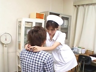 Elegant nurse Riko Tachibana gets talked into sucking surpassing a cock