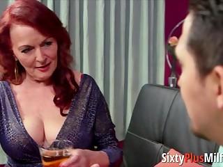 Ritzy redhead granny sucks chubby hard sex