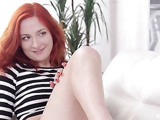 Redhead Eva Berger makes a long pecker disappear with her cunt