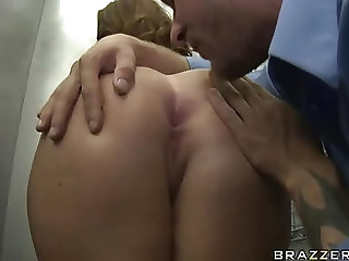 Admirable huge-chested Sophie Dee receives a stilted ass hole poke