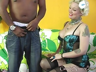 Tattooed blonde moans give delight while being banged by a BBC