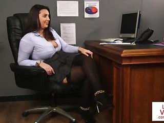 Office honey teaches slave fucking partner involving masturbate